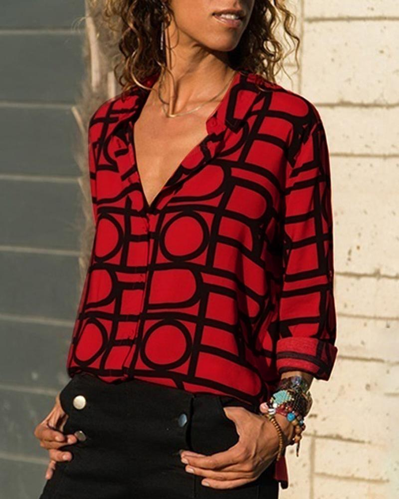 V Neck Button Up Geo Printed Shirt, Red