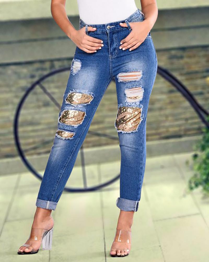 chicme / Pantalones de mezclilla con lentejuelas holey