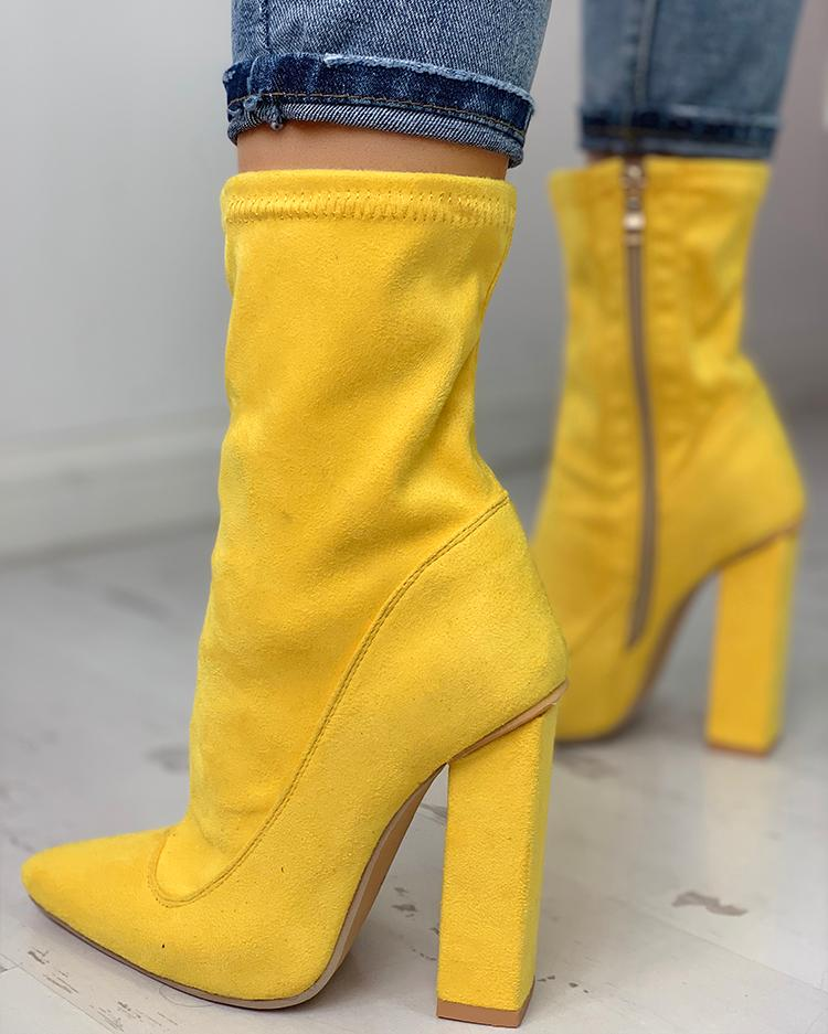 Suede Side Zipper Up Chunky Heeled Boots, Yellow