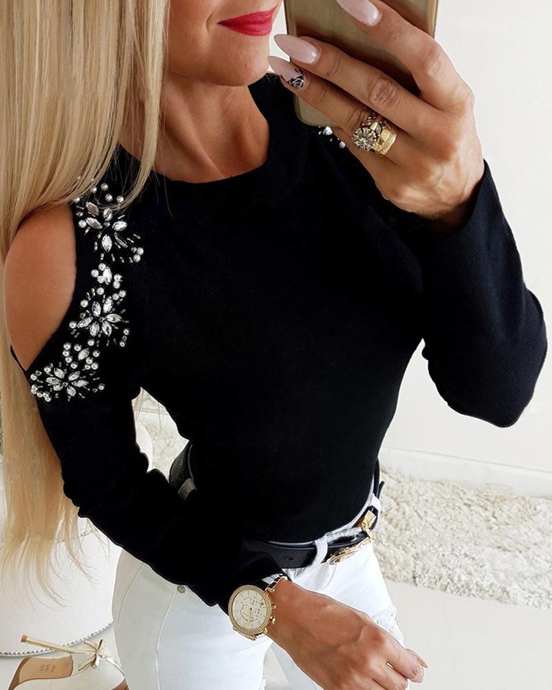 Cold Shoulder Studded Detail Blouse, Black
