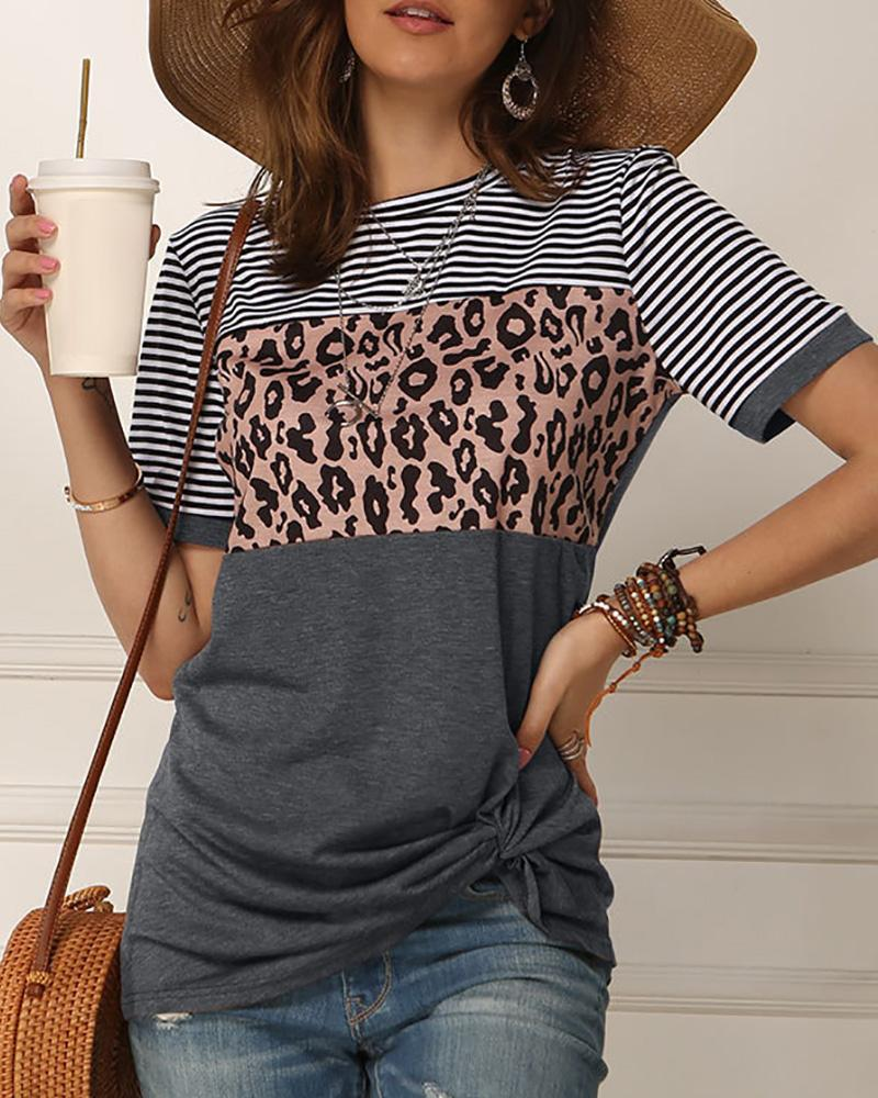 Leopard Print Striped Twisted Short Sleeve T-shirt фото