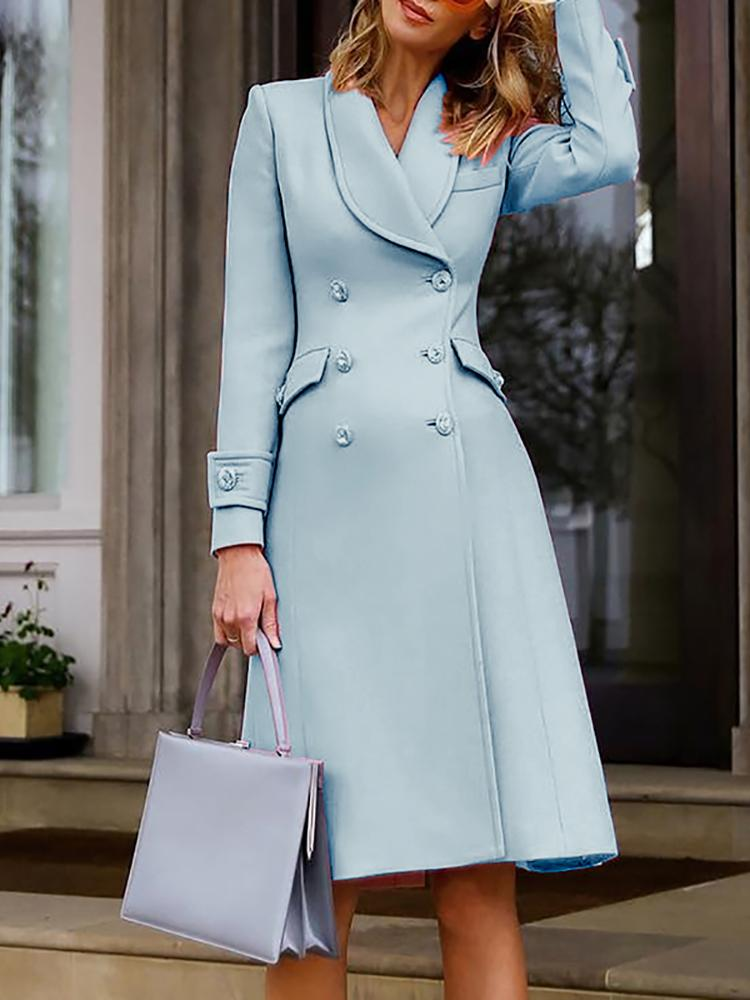 ivrose / Solid Double-Breasted Long Sleeve Dress