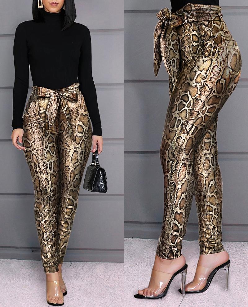 boutiquefeel / Pantalones de cintura alta con estampado de piel de serpiente