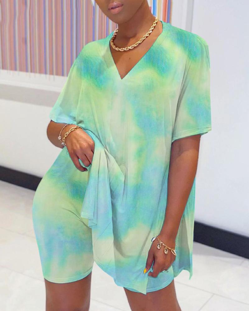 Tie Dye Print Slit Top & Short Sets фото