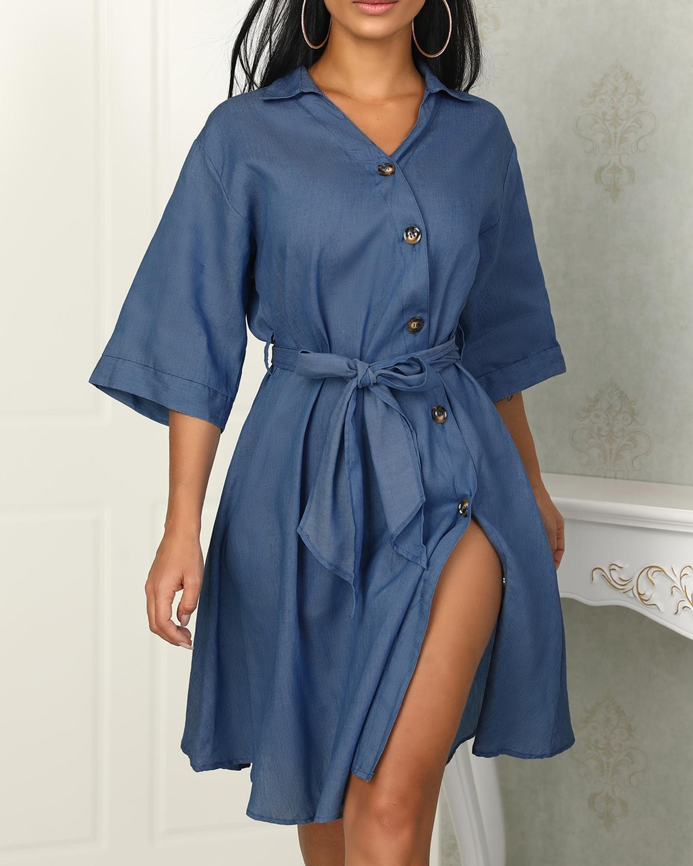 boutiquefeel / Diseño de botones Vestido de camisa vaquera con cintura ajustada