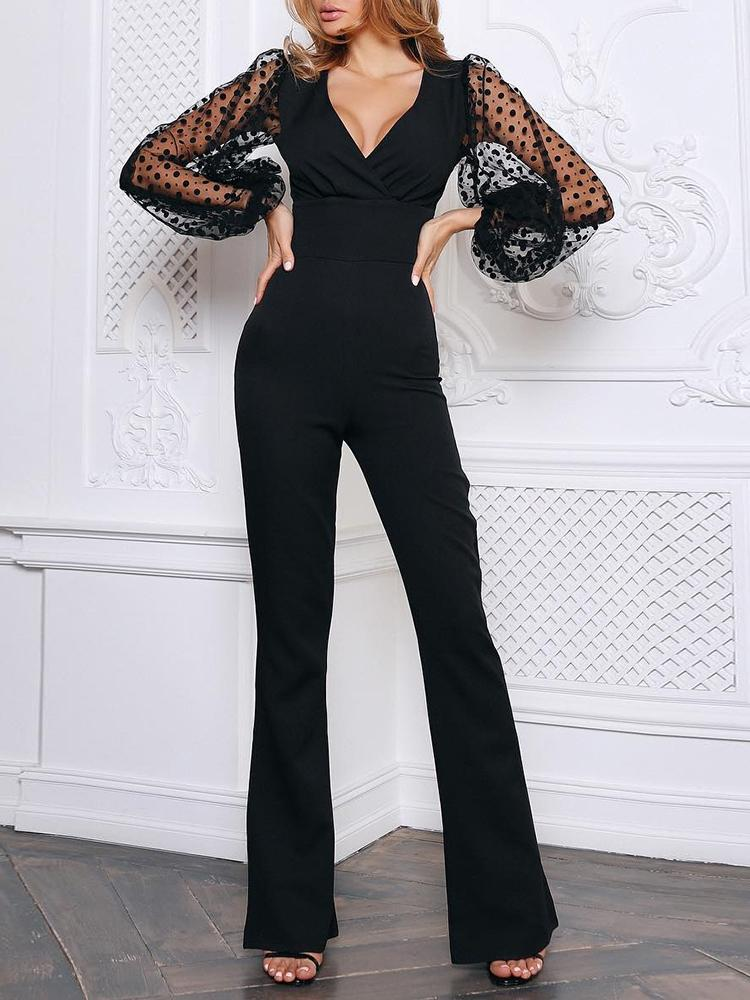 Dot Mesh Sleeve Insert Ruched Jumpsuit