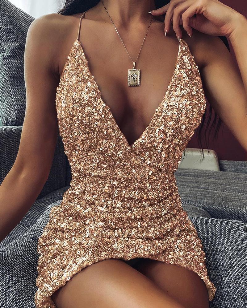 ivrose / Spaghetti strap Plunge Sequins Dress