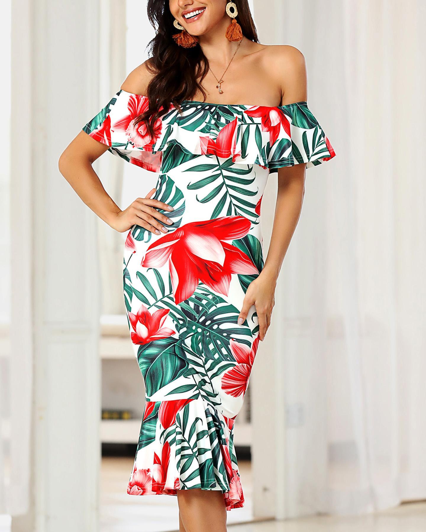 chicme / Floral Print Off Shoulder Ruffle Hem Bodycon Dress