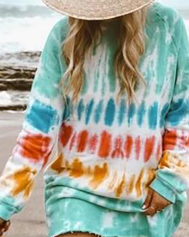 Tie Dye Print Fringe Hem Casual Dress фото