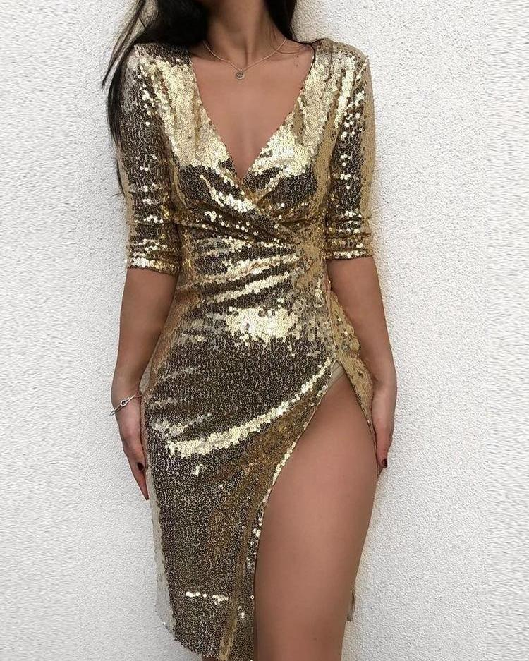 chicme / V-Neck Wrap Slit Sequin Party Dress