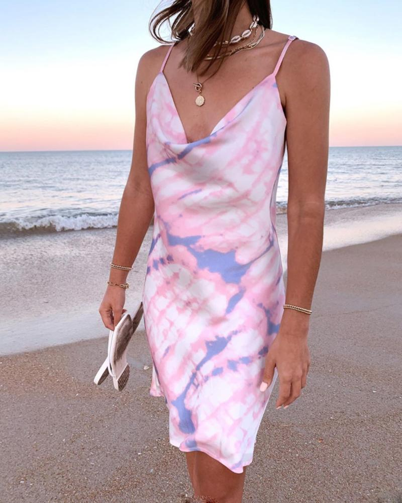joyshoetique / Tie Dye V Neck Spaghetti Strap Dress