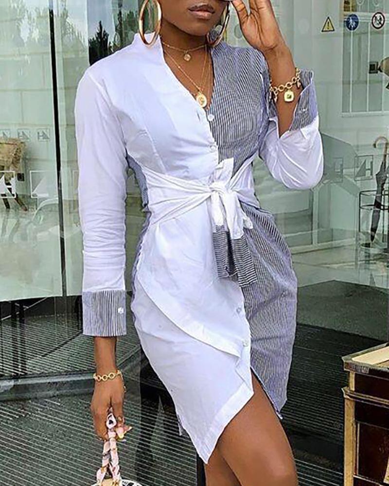 boutiquefeel / Vestido camisero con nudo en contraste en la parte delantera