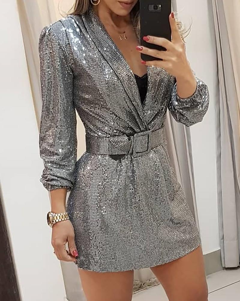 Sequins Long Sleeve Deep V Dress фото