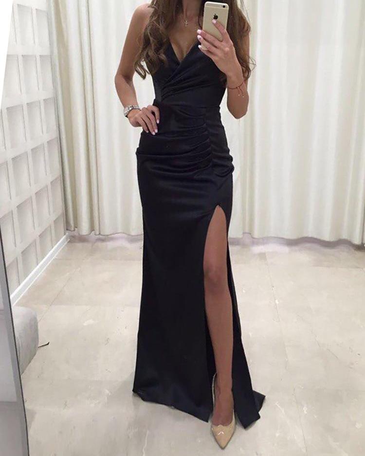 boutiquefeel / Correia de espaguete sólido Ruched Fenda Bodycon Dress