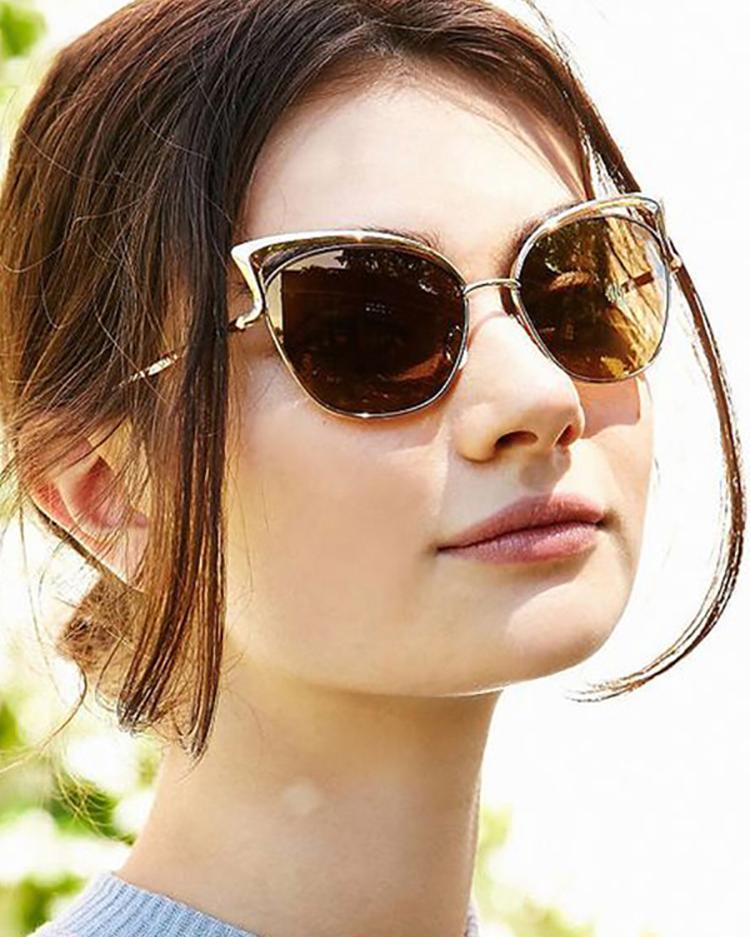 Fashion Reflactive Cat Eye Lens Sunglasses - Gold