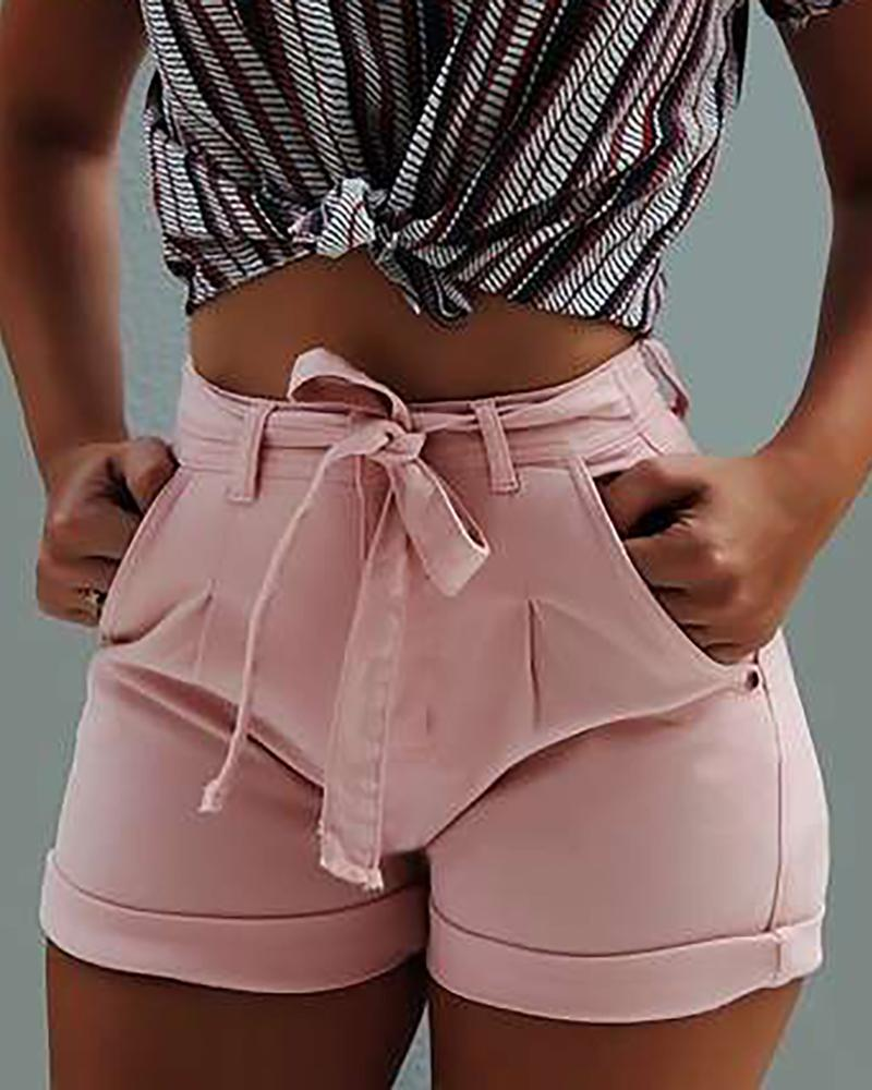 ivrose / Pantalones cortos de mezclilla de cintura alta sólidos ocasionales