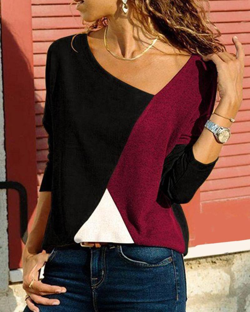 Tricolor Colorblock Long Sleeve Top фото