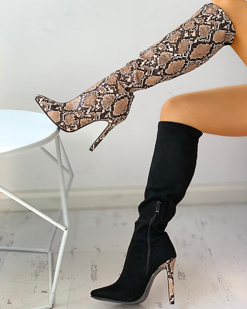 Snakeskin Colorblock Zipped Thin Heeled Boots