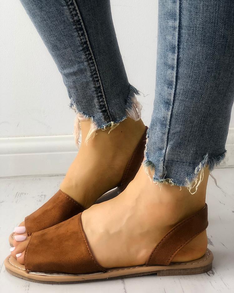 Single Strap Open Toe Flat Sandals