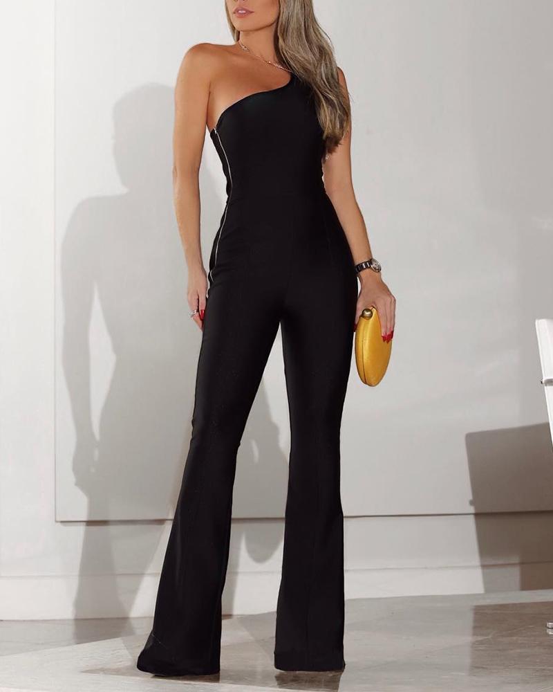 One Shoulder Zipper Side Bell-Bottom Jumpsuit, Black