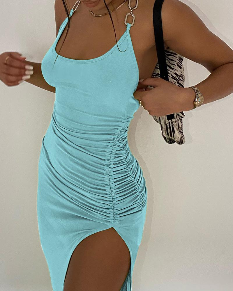 Halter Chain Strap Backless Drawstring Dress фото