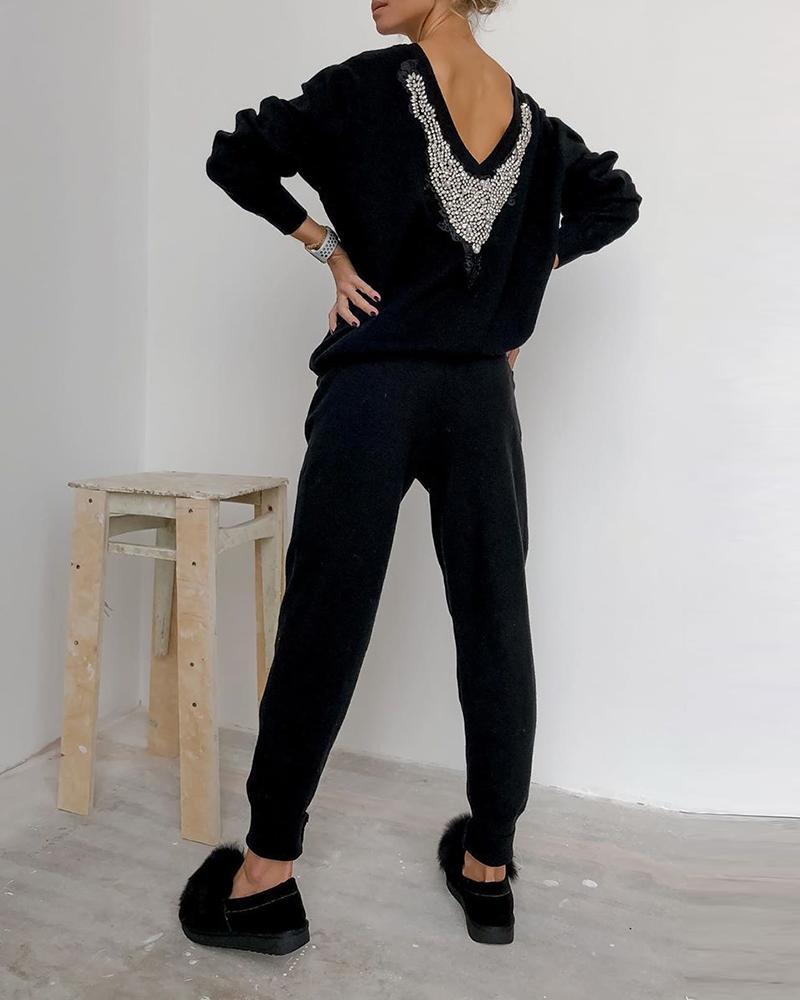 chicme / Conjunto de calças e top casual com tachas nas costas