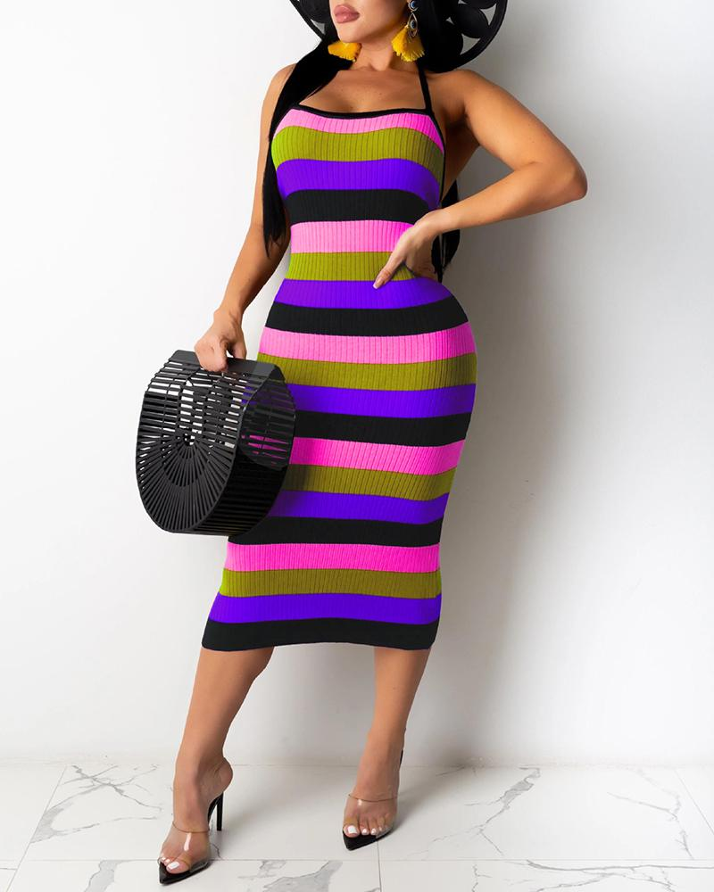 Ribbed Colorblock Striped Halter Backless Dress фото