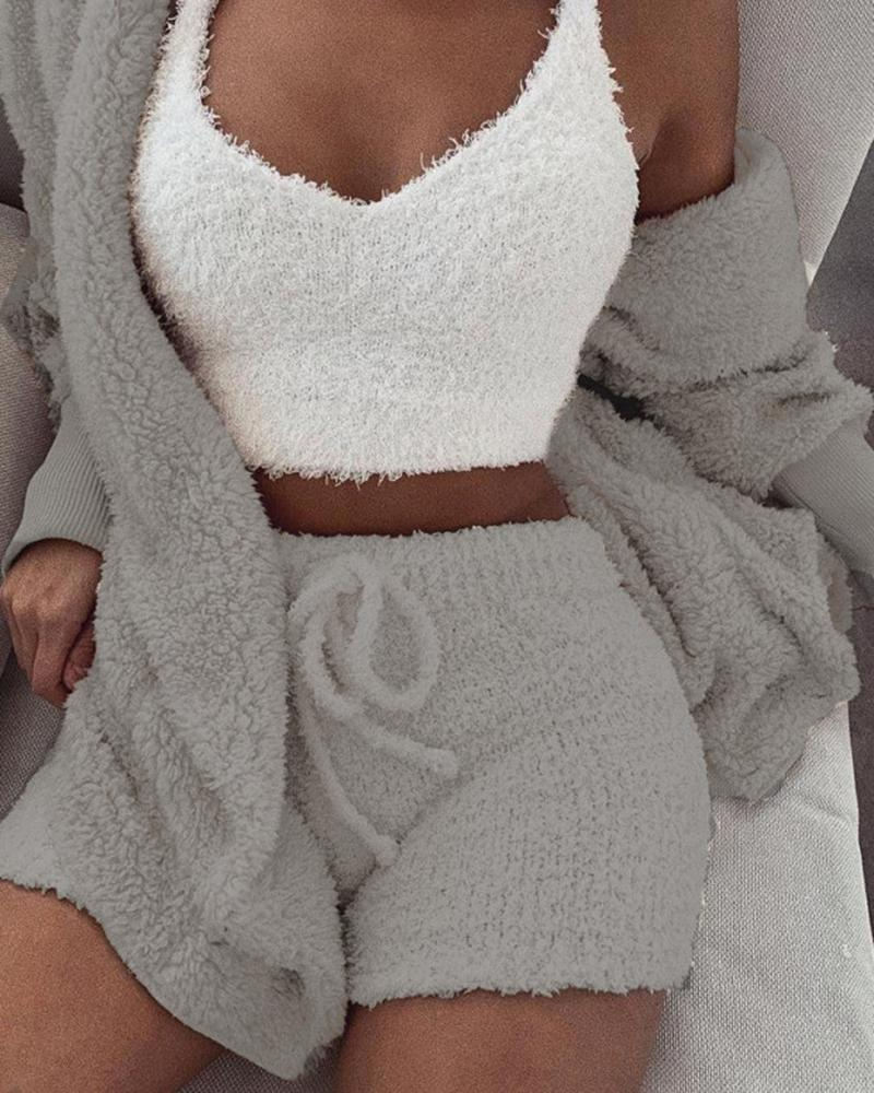 Fluffy Hooded Open Front Teddy Coat & Short Sets фото