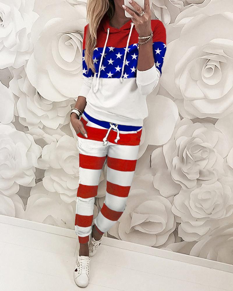 ivrose / Estrelas listradas Imprimir Colorblock Top & Pant Sets
