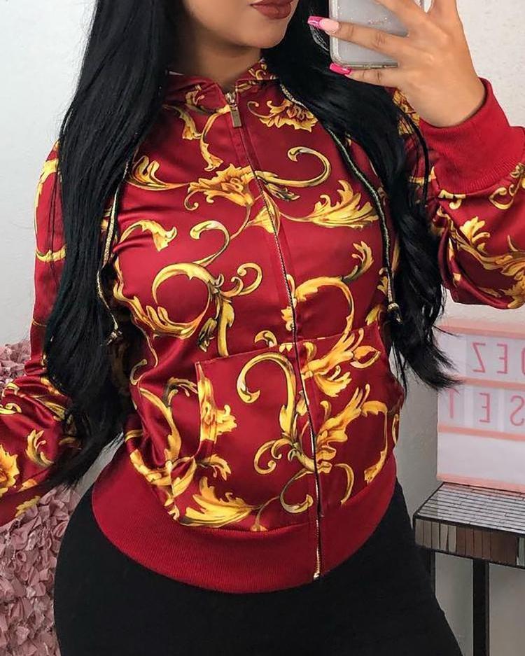 Baroque Print Zipper Up Hooded Jacket