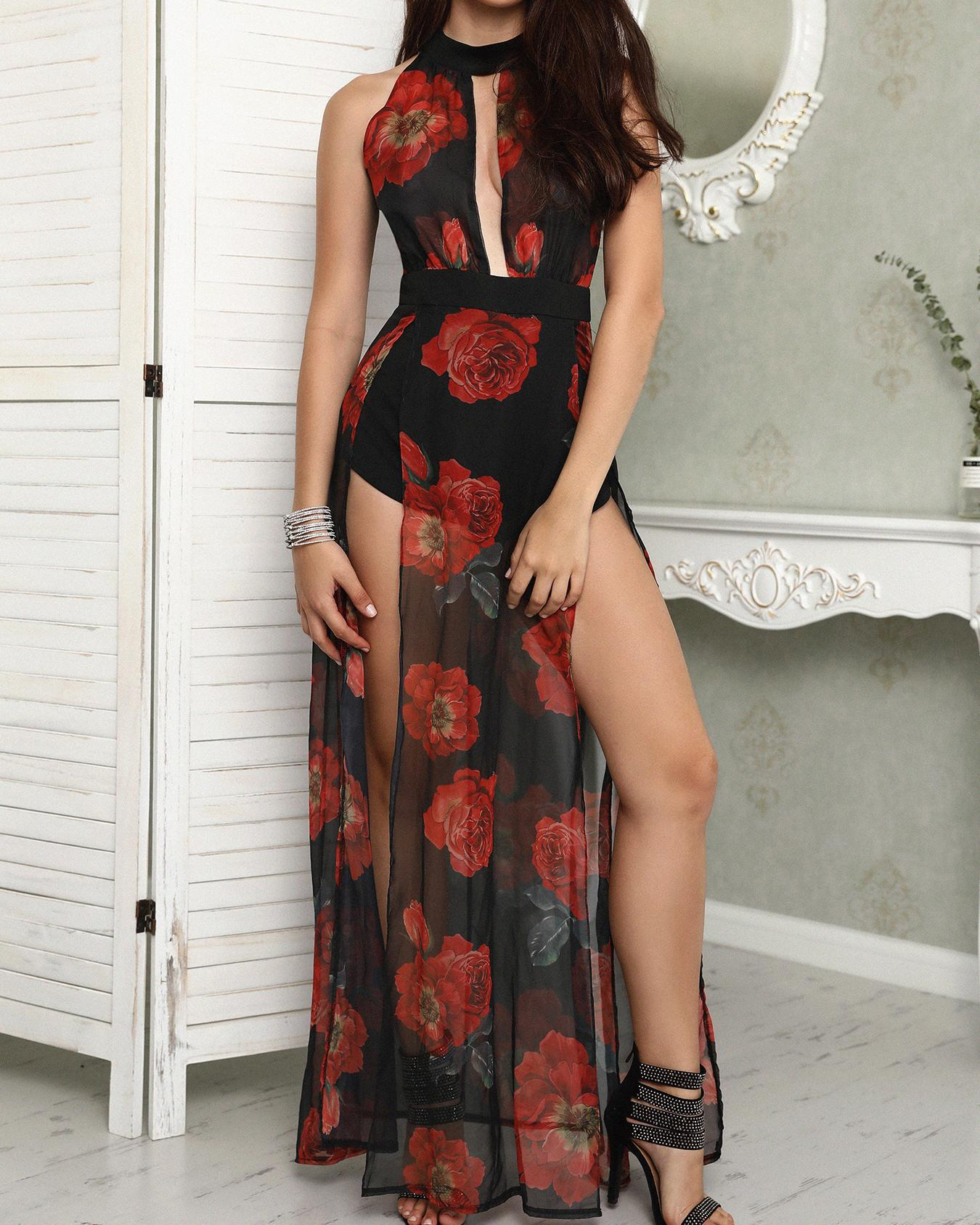 Floral Print Halter Cutout High Slit Romper Dress, Black