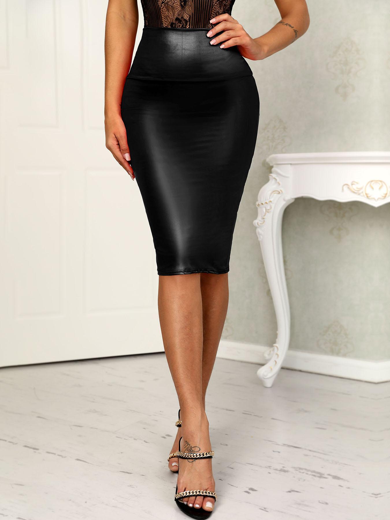 OL Style PU High Waist Slinky Skirts