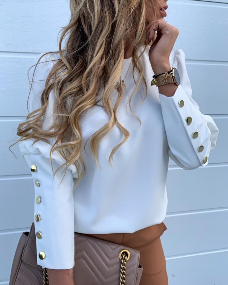 chicme / Blusa casual con detalle de botones de metal sólido