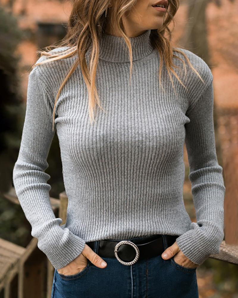 Solid Ribbed Long Sleeve Casual Blouse фото