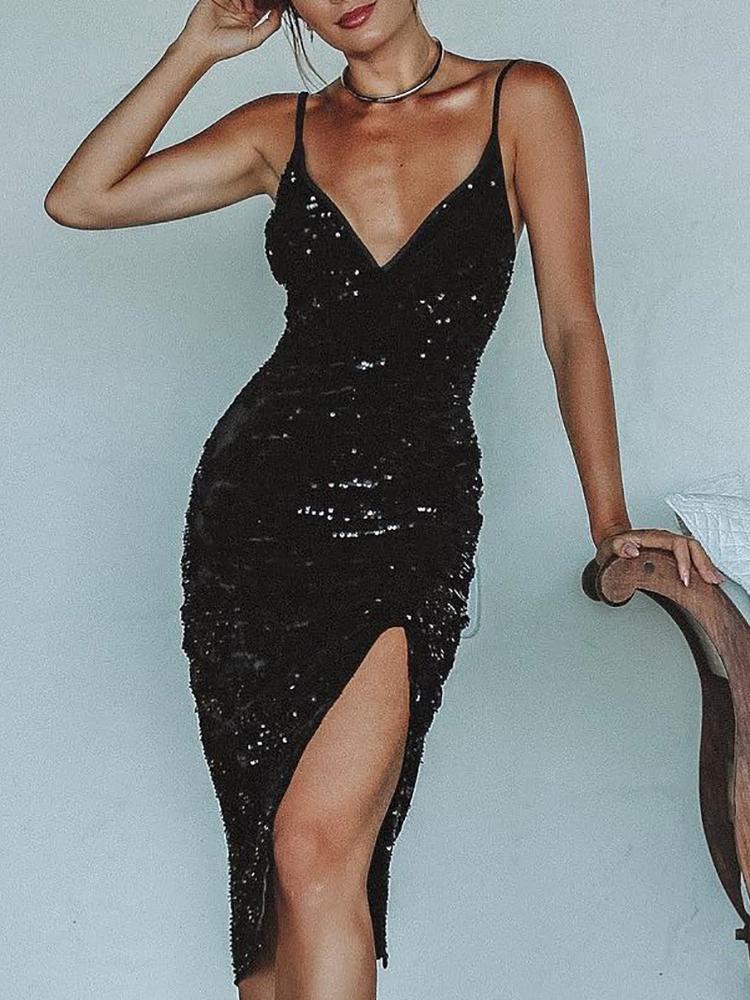 Deep V Thigh Slit Sequin Party Dress