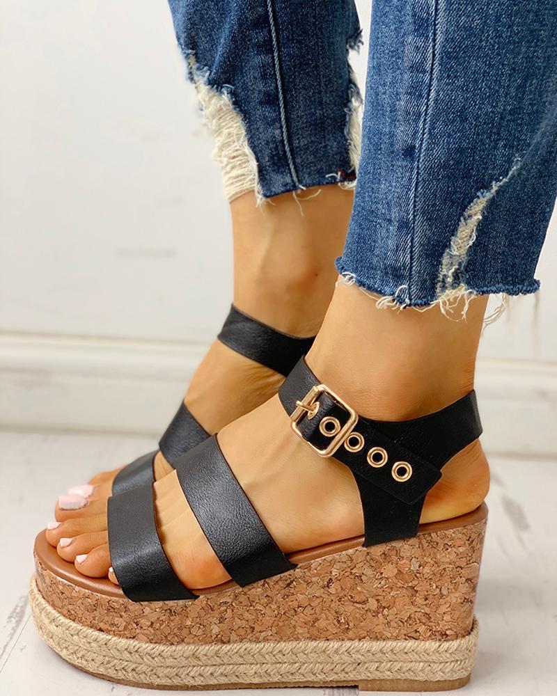 ivrose / Eyelet Buckled Espadrille Wedge Sandals