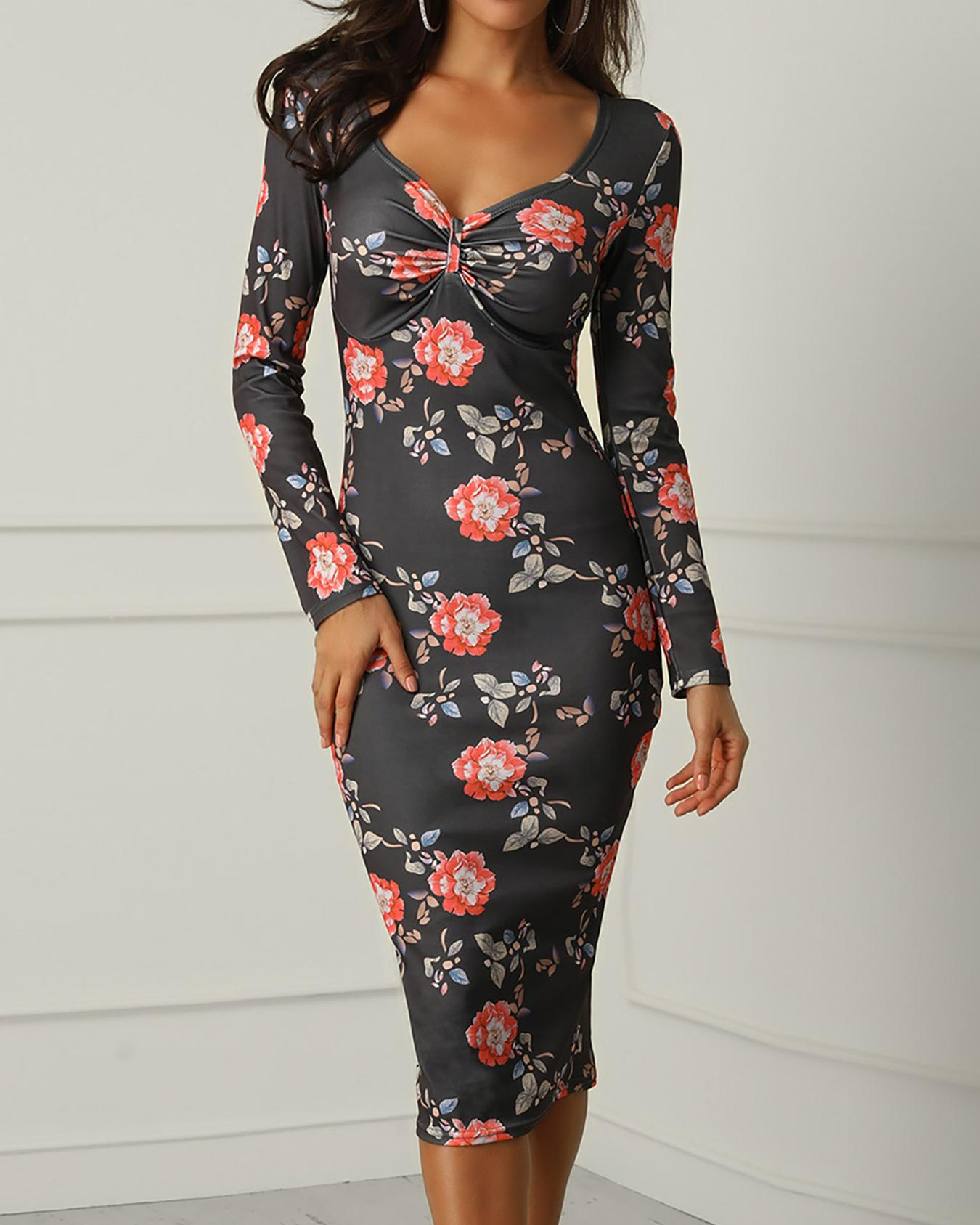 Floral Print Ruched Long Sleeve Bodycon Dress фото