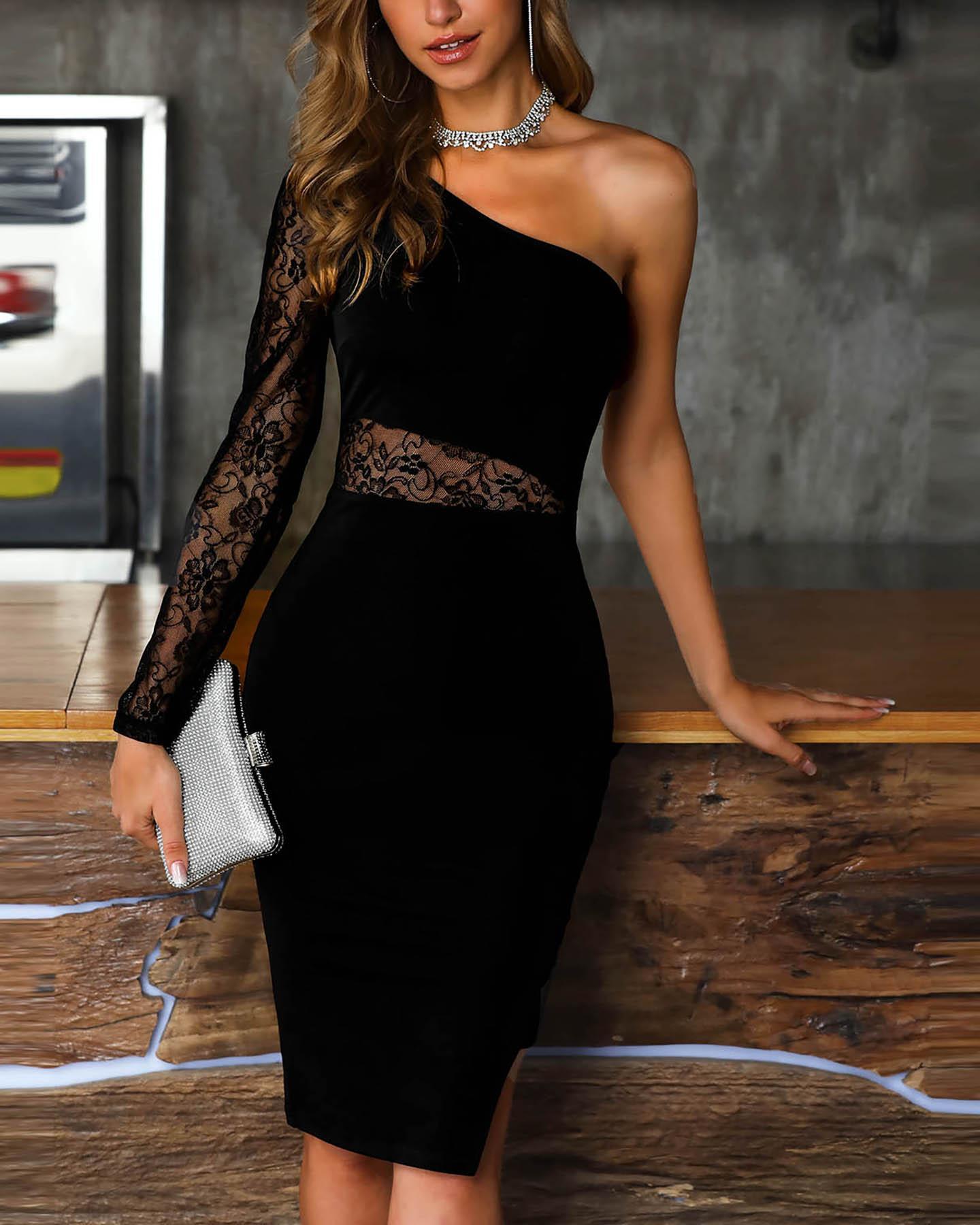 One Shoulder Lace Insert Slit Bodycon Dress фото