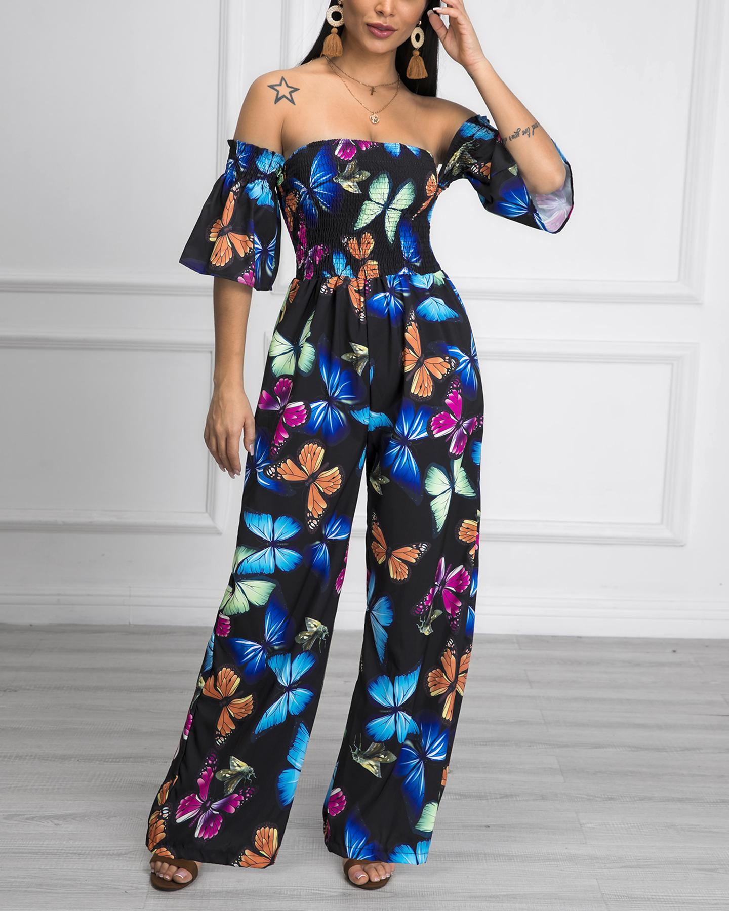Off Shoulder Floral Print Shirring Jumpsuit