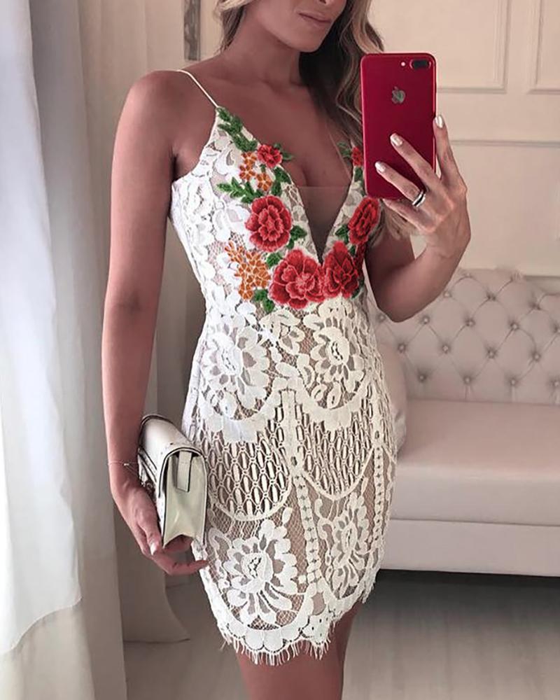 Embroidered Lace Crochet Overlay Mini Slip Dress фото