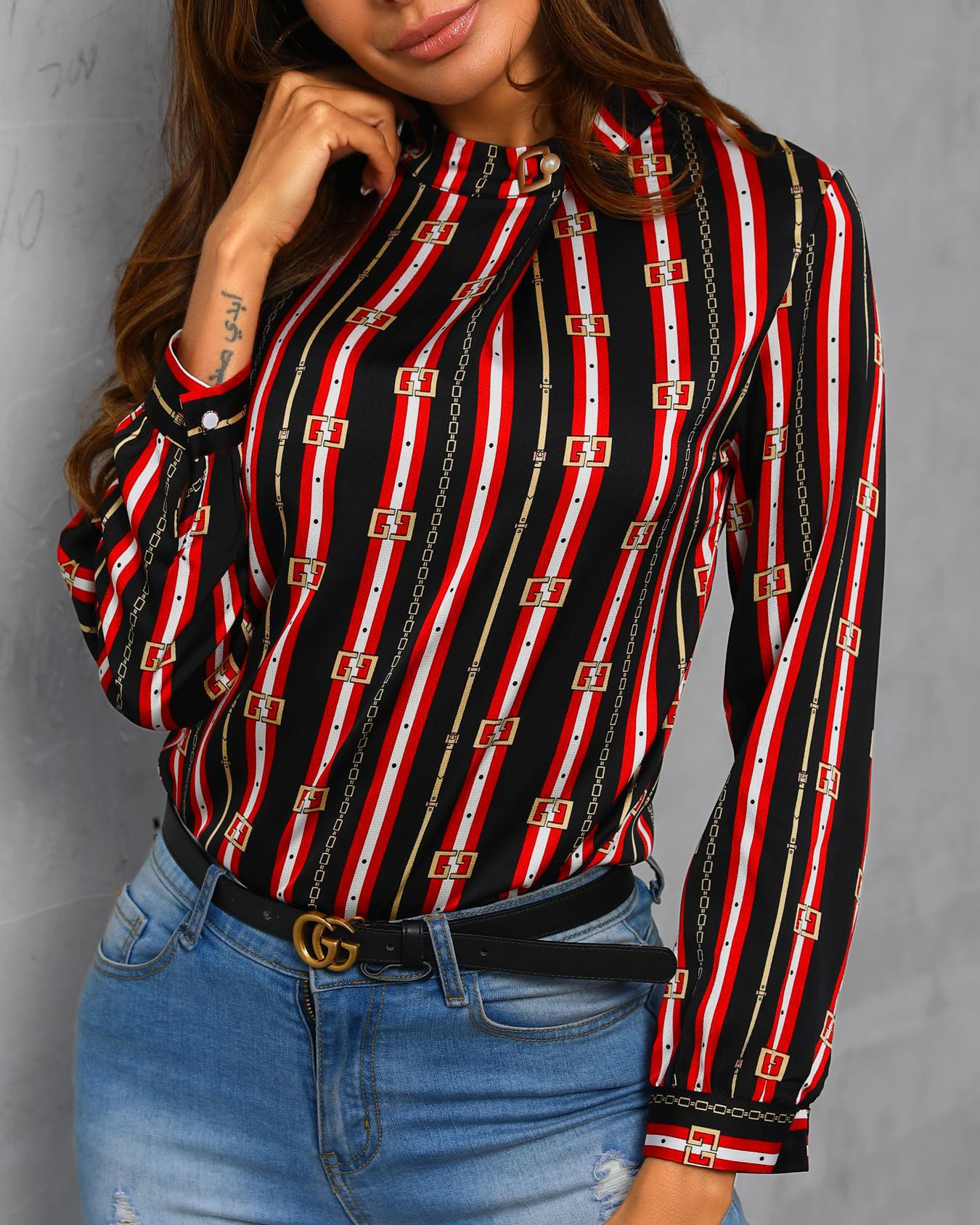 Stripes & Print Keyhole Back Casual Blouse