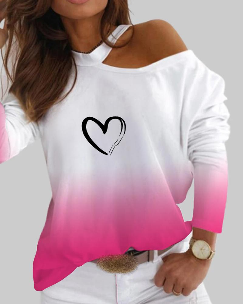 Colorblock Heart Print Cold Shoulder Top