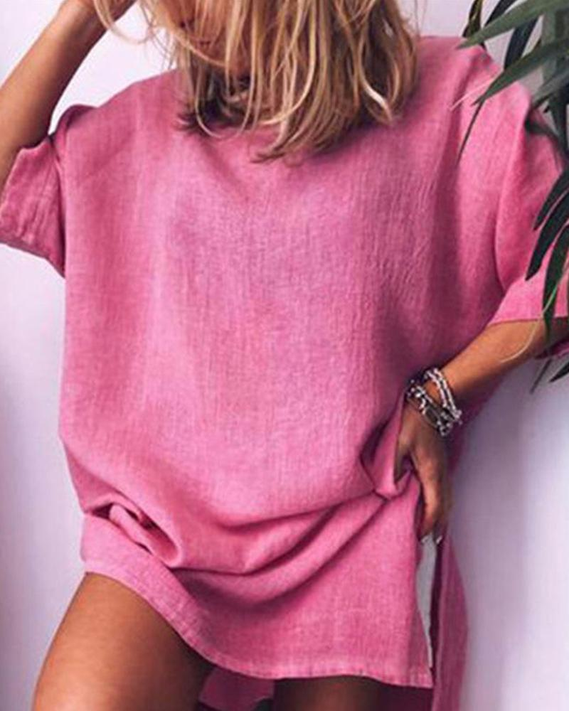 2019 summer new washed cotton and linen loose dress фото