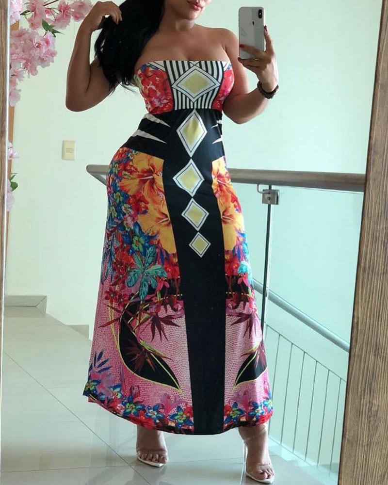 Exotic Print Tube Maxi Dress