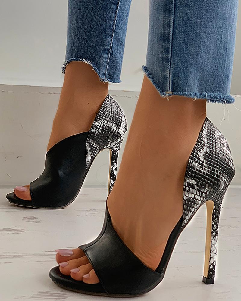 joyshoetique / Snakeskin Colorblock Peep Toe Stiletto Heel