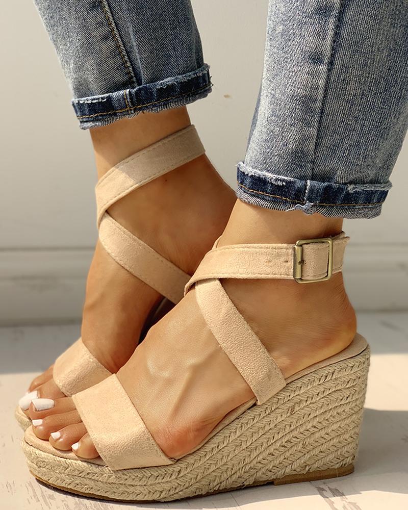 Suede Slingback Espadrille Wedge Sandals фото