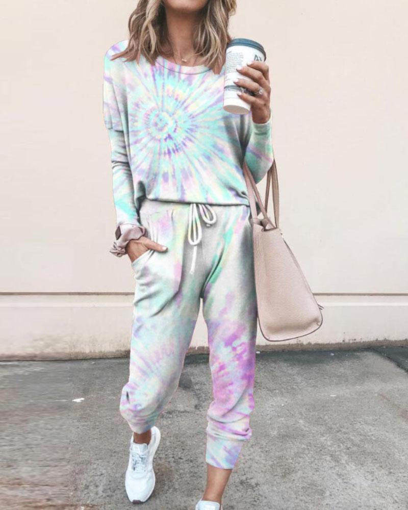 Tie Dye Print Top & Drawstring Pants Set фото