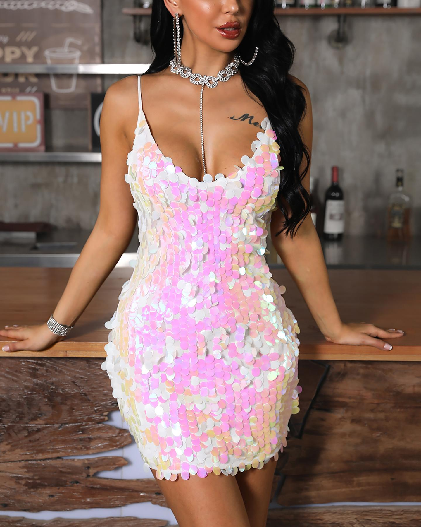 Spaghetti Strap Sequins Backless Bodycon Dress
