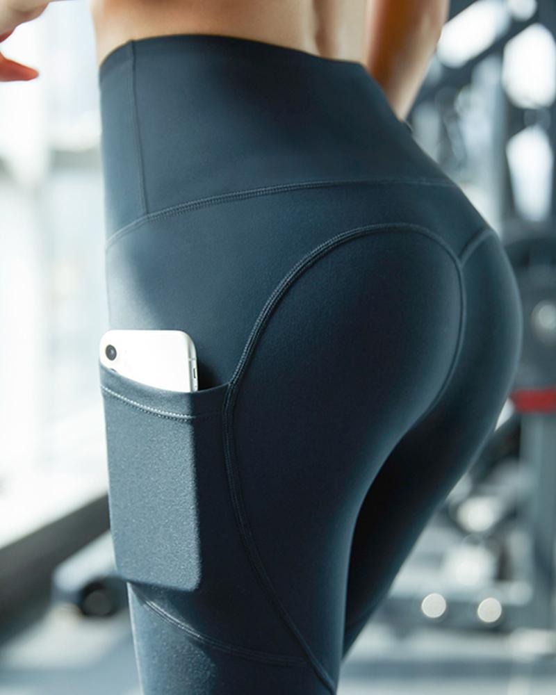 High Waist Side Pockets Exercise Yoga Pants фото