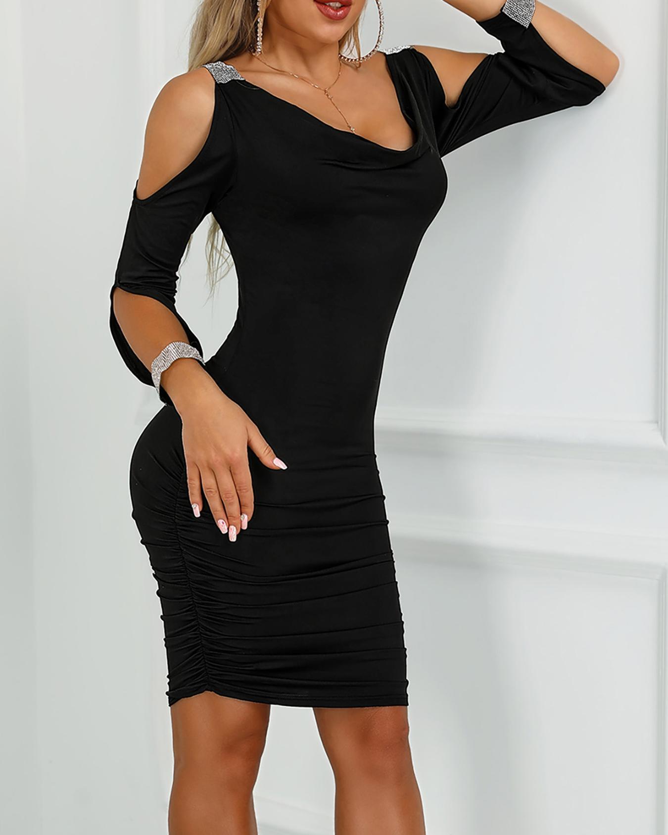 Gem-Studded Cold Shoulder Ruched Bodycon Dress, Black